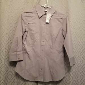 NY&Co gray/white striped button up size S NWT